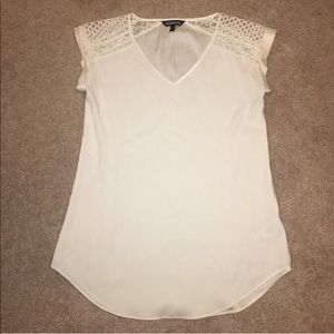 Express Lace/Mesh Silky V Neck Tee